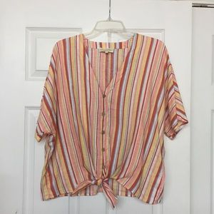Cynthia Rowley striped linen tie front top